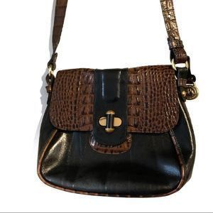 Brahmin Small Brown Black Crossbody Flap-over lock